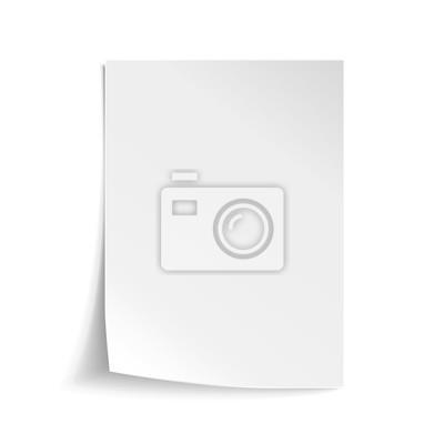 Fototapeta Wektor Biały arkusz papieru. Realistyczne puste notatki papieru szablonu format A4 z miękkich cieni samodzielnie na białym tle.