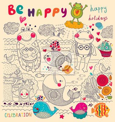 Fototapeta Wektor cartoon ilustracji z happy żab