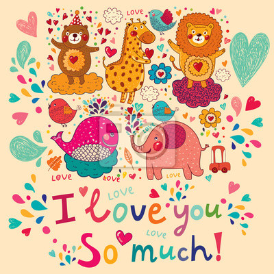 Fototapeta Wektor cartoon Love karty z cute zwierząt