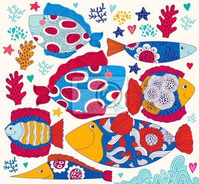 Fototapeta Wektor cartoon śmieszne ryby