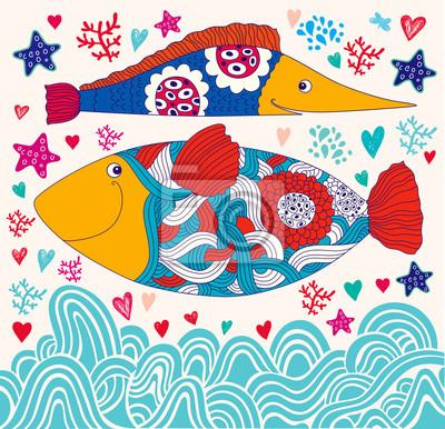 Wektor cartoon śmieszne ryby