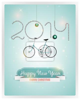 Wektor Christmas tła z retro rowery