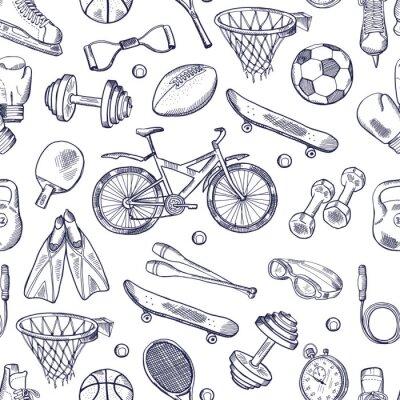 Fototapeta Wektor doodles ręcznie narysowany bez szwu deseń różnych akcesoriów sportowych