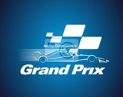 Fototapeta Wektor Grand Prix Racing Championship logo lub symbol
