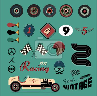 Wektor ikony rocznika wyścigów samochodowych