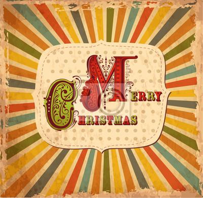 Fototapeta Wektor kartki świąteczne w stylu vintage