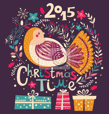 Fototapeta Wektor karty Boże Narodzenie z darami