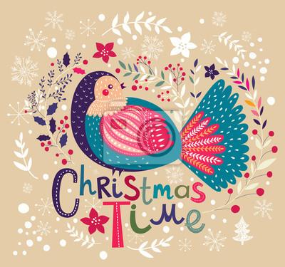 Fototapeta Wektor karty Boże Narodzenie z ptakiem