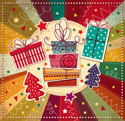 Fototapeta Wektor karty Boże Narodzenie z pudełka
