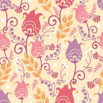 Fototapeta Wektor kolorowe holenderski tulipan kwiaty elegancki seamless pattern