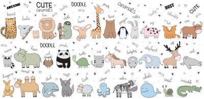 Fototapeta Wektor kreskówka duży zestaw ładny zbiory zwierząt