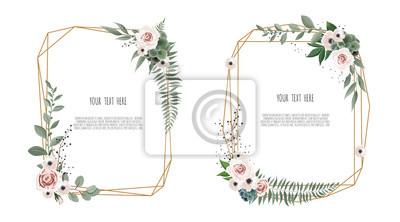 Fototapeta Wektor kwiatowy karta botaniczna projekt z liści z geometryczną ramą.