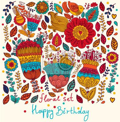 Fototapeta Wektor kwiatu karty z Happy życzenia urodzinowe