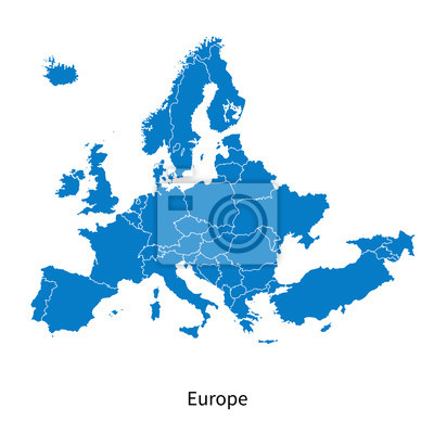 Fototapeta Wektor mapa Europy Polityczna mapa granic