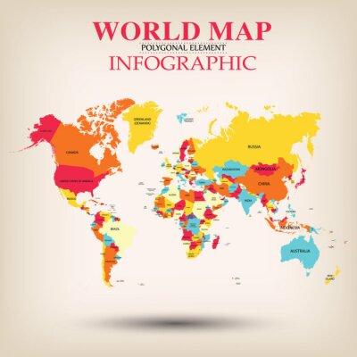 Fototapeta Wektor Mapa świata Infografika.