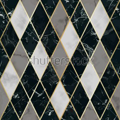 Fototapeta Wektor marmurowy wzór z złote geometryczne ukośne linie. Biały, szary, czarny romb marmurkowy powierzchni, nowoczesne luksusowe tło, luksusowe tapety.