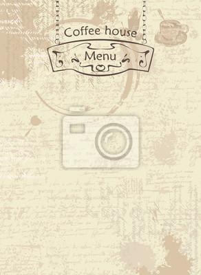 Wektor menu dla kawiarni. Abstrakcyjna tła z teksturą rękopisu i plamy z pucharami, tekst i wskaźnik ulicy wiszące na łańcuchów