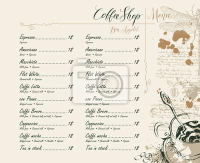 Wektor Menu kawiarni z cennikiem, rysunki ołówkiem filiżankę kawy, ważki, ziarna kawy i odręczne napisy na abstrakcyjnym tle starego rękopisu z miejsca w stylu retro