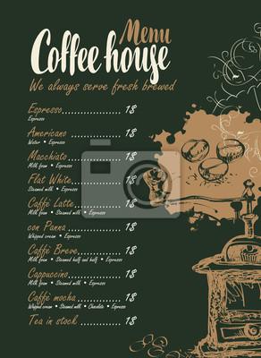 Wektor menu z cennikiem, ekspres do kawy i napisami dom na czarnym tle w stylu retro
