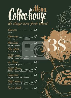 Wektor menu z cennikiem, filiżankę kawy i napisami dom kawowy na czarnym tle z plamy i plamy w stylu retro