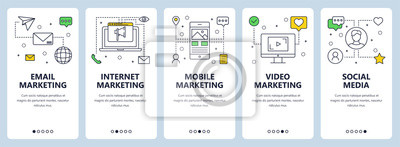 Fototapeta Wektor nowoczesne cienka linia koncepcji marketingowej banery internetowe