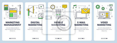 Fototapeta Wektor nowoczesne cienka linia zarządzania marketingowego koncepcji zestaw transparent