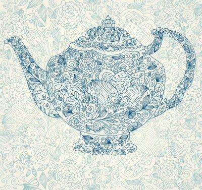 Wektor piękne lacy czajniczek