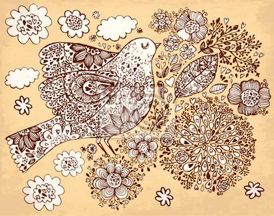 Fototapeta Wektor ręcznie rysowane ilustracji z ptaków i kwiatów