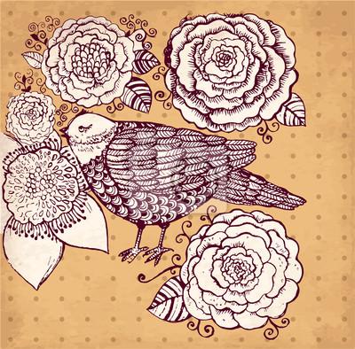 Wektor ręcznie rysowane ilustracji z ptaków i kwiatów