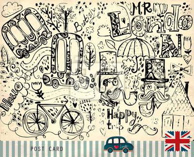 Fototapeta Wektor ręcznie rysowane ilustracji z symboli Londynu.