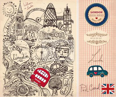 Fototapeta Wektor ręcznie rysowane karta z symboli Londynu