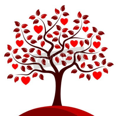 Fototapeta Wektor serca drzewa samodzielnie na białym tle