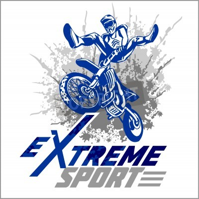 Fototapeta Wektor sport ekstremalny - motocross i godło.