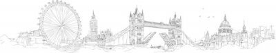 Fototapeta wektor szkic strony rysunku panoramiczny London Silhouette