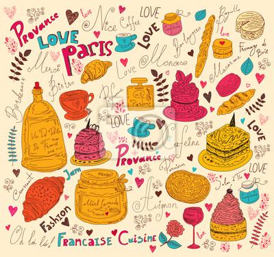 Wektor tła z symbolami żywności Francji