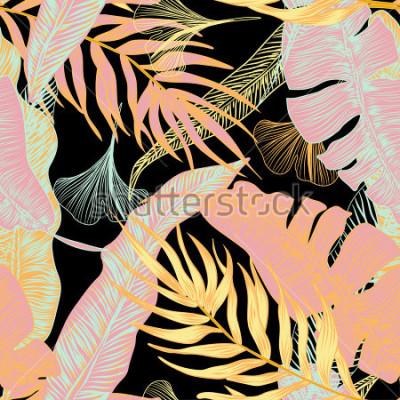Fototapeta Wektor, tropikalny, egzotyczny, modny, stylowy, wiosna, wzór egzotycznych roślin tropikalnych. zastosowanie w wydrukach reklamowych, drukowaniu.