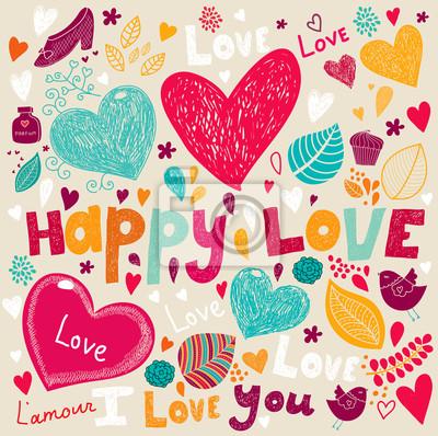 Fototapeta Wektor Valentine Karta z pozdrowieniami z kwiatów