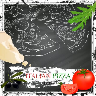 Fototapeta Wektor włoska pizza plakat na czarnej tablicy