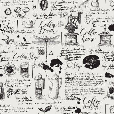 Fototapeta Wektor wzór na temat herbaty i kawy w stylu retro. Różne symbole kawy, ważki, plam i napisów na tle starego rękopisu. Może być używany jako tapeta lub papier do pakowania