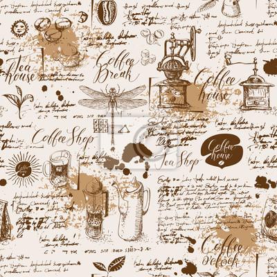 Wektor wzór na temat herbaty i kawy w stylu retro. Różne symbole kawy, ważki, plam i napisów na tle starego rękopisu. Może być używany jako tapeta lub papier do pakowania