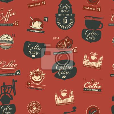 Wektor wzór na temat kawy i kawiarni ze starymi młynek do kawy, inne symbole kawy i odręczne napisy w stylu retro. Może być używany jako tapeta lub papier do pakowania