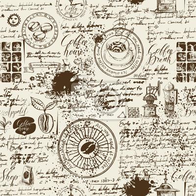 Wektor wzór na temat kawy z różnych symboli kawy, plam i napisów na tle starego rękopisu w stylu retro. Może być używany jako tapeta lub papier do pakowania
