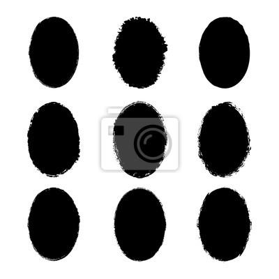Fototapeta Wektor zbiory naklejek atramentowych poplamione grunge tekstur z nierównymi nierównymi krawędziami