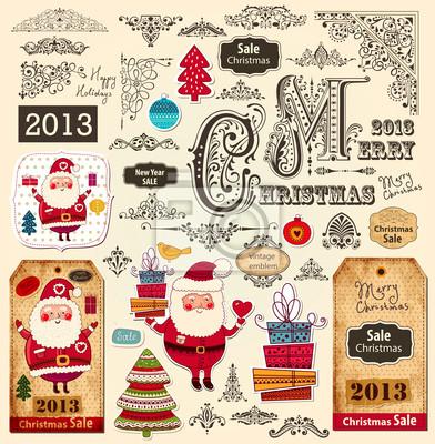 Wektor zestaw Christmas ozdoby i elementy projektu