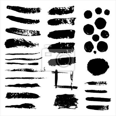 Wektor zestaw grunge czarne farby, pociągnięcia pędzlem. Kolekcja pociągnięć pędzlem. Brudne grunge artystyczne elementy projektu, tła, tekstury, pędzle