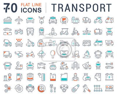 Fototapeta Wektor zestaw ikon transportu płaską linię