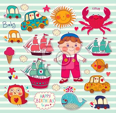 Fototapeta Wektor zestaw naklejek z kreskówek: chłopiec i zabawki