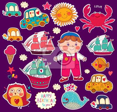 Wektor zestaw naklejek z kreskówek: chłopiec i zabawki
