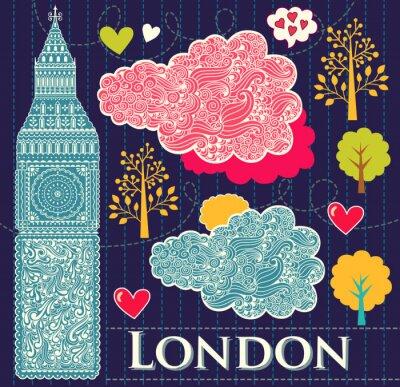 Fototapeta Wektor zestaw symboli Londynu