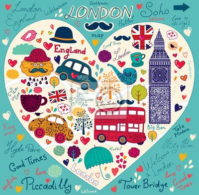 Fototapeta Wektor zestaw symboli Londynu i zabytków